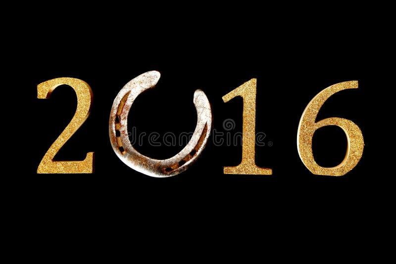 2016与马掌的新年背景 图库摄影