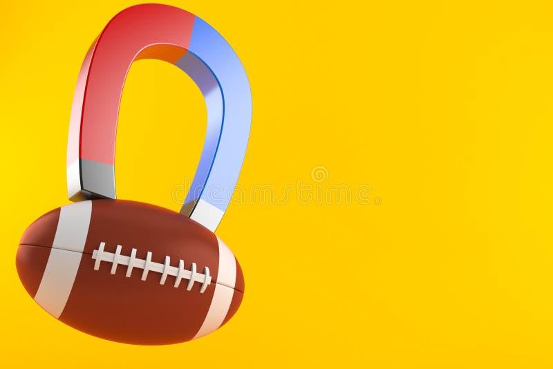 与马掌磁铁的橄榄球球 库存例证