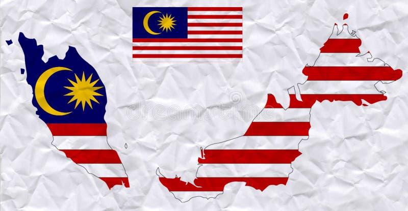 与马来西亚旗子和地图水彩绘画的传染媒介老压皱纸  库存例证
