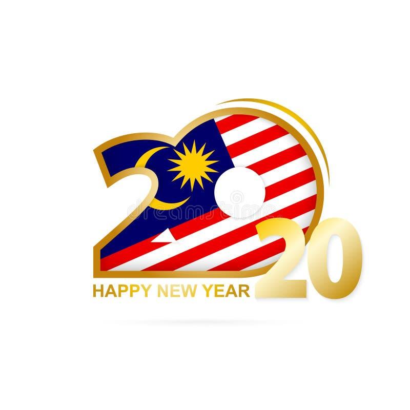 与马来西亚旗子样式的年2020年 新年快乐设计 皇族释放例证