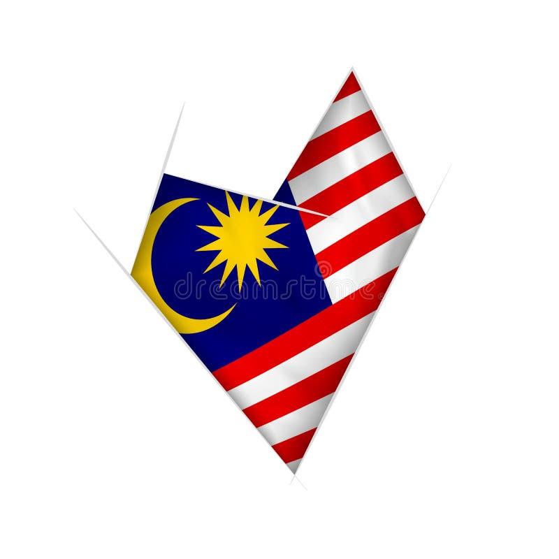 与马来西亚旗子的速写的弯曲的心脏 库存例证