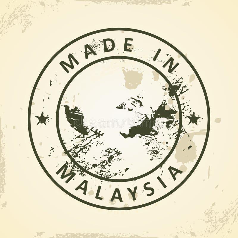 与马来西亚的地图的邮票 库存例证