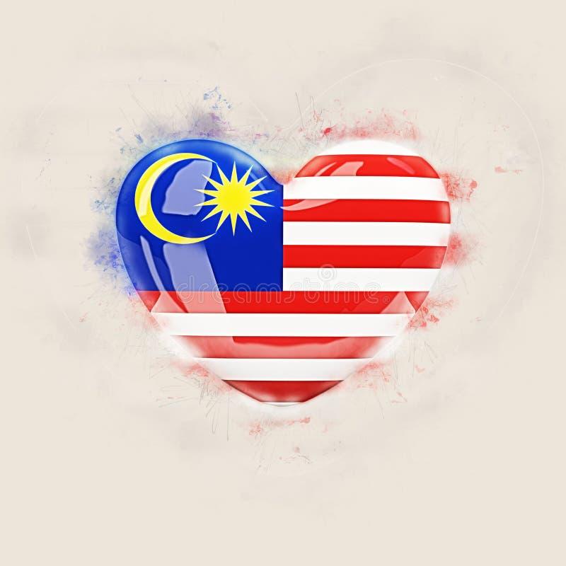 与马来西亚的旗子的心脏 向量例证