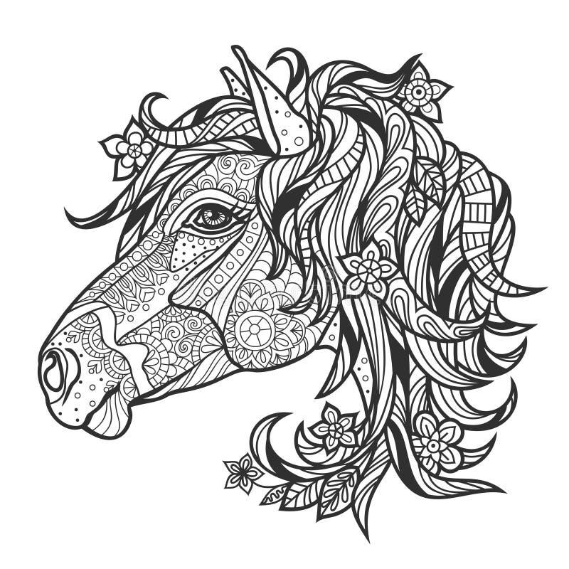 与马的画象的着色反重音 库存例证