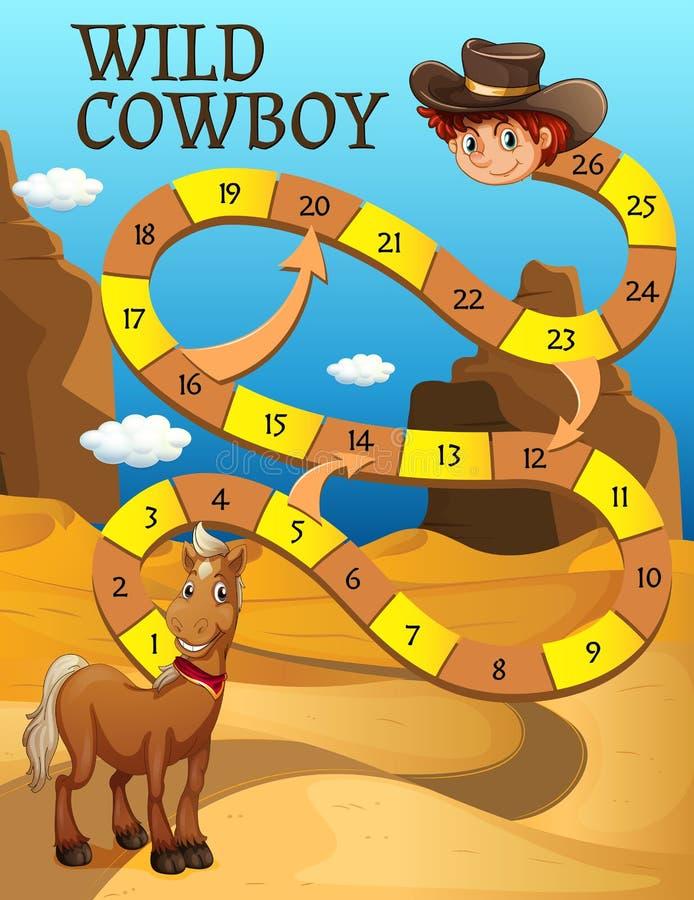 与马的Boardgame模板在沙漠 向量例证
