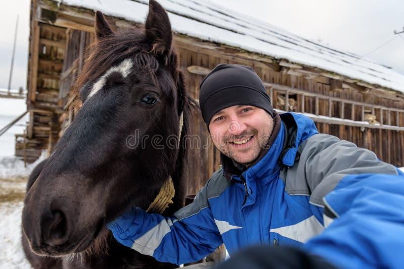与马的Selfie 免版税库存照片