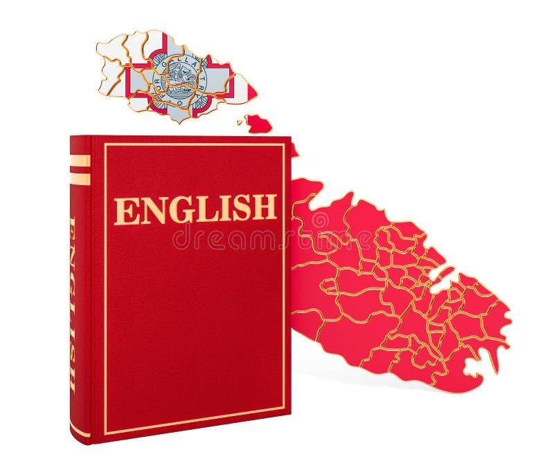 与马耳他地图,3D的英语语言书翻译 向量例证