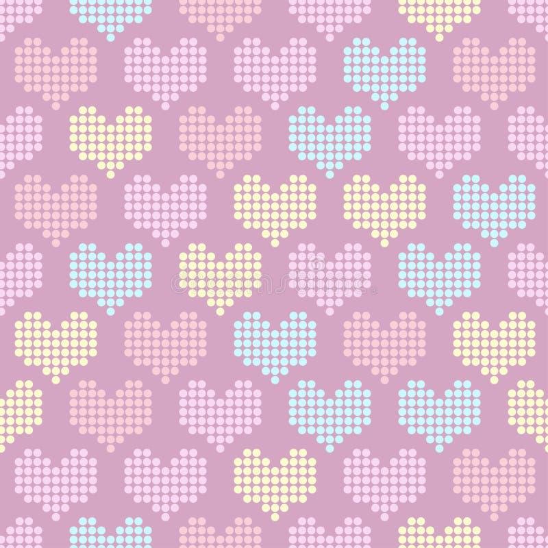 与马赛克心脏的无缝的样式 向量例证