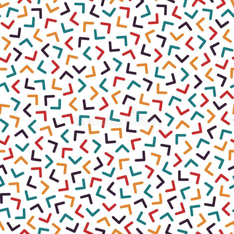 与马赛克角度的五颜六色的无缝的孟菲斯样式 时尚设计80-90s 库存例证