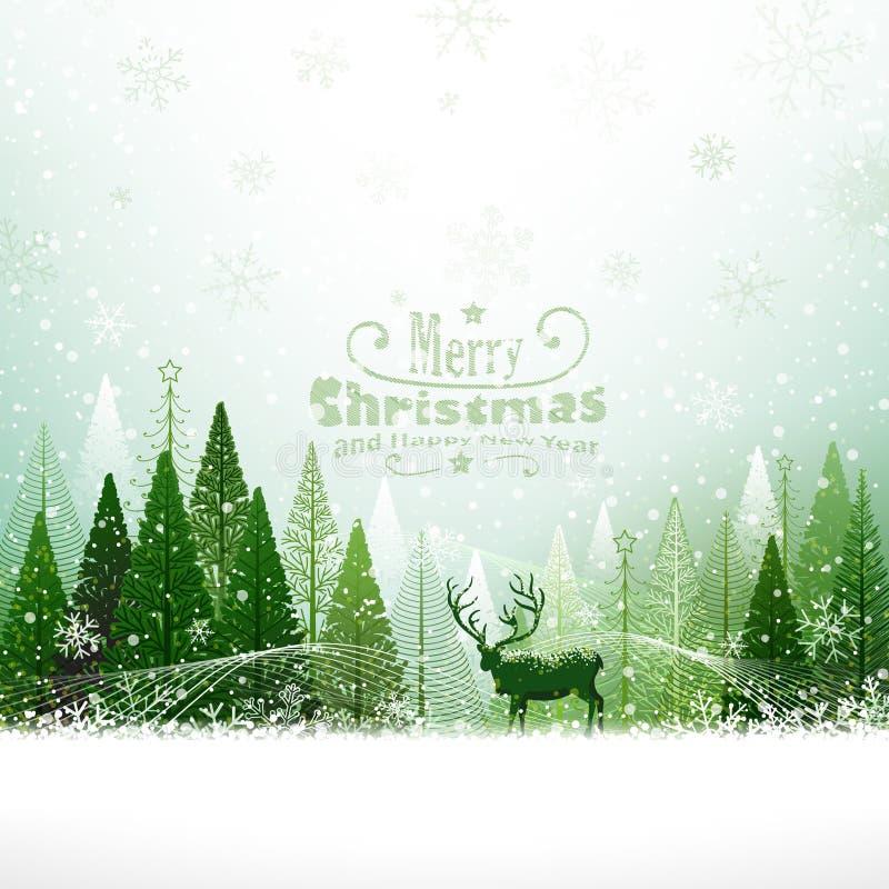 与驯鹿的圣诞节背景 库存例证