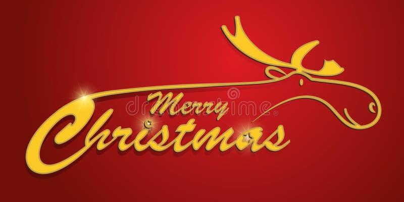 与驯鹿的红色圣诞卡 免版税库存图片
