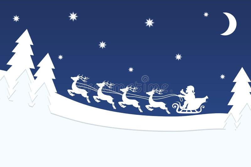 与驯鹿的飞行圣诞老人在圣诞夜森林蓝星 皇族释放例证