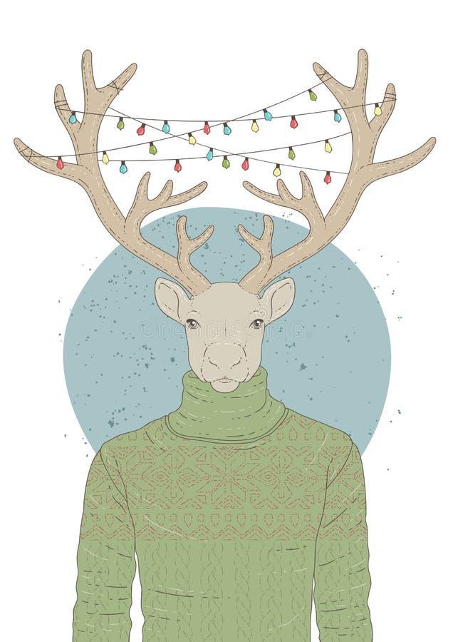 与驯鹿画象的例证在套头衫和圣诞节诗歌选的 库存照片
