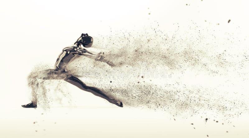 与驱散微粒的抽象黑塑料人体时装模特在白色背景 行动舞蹈芭蕾姿势 向量例证