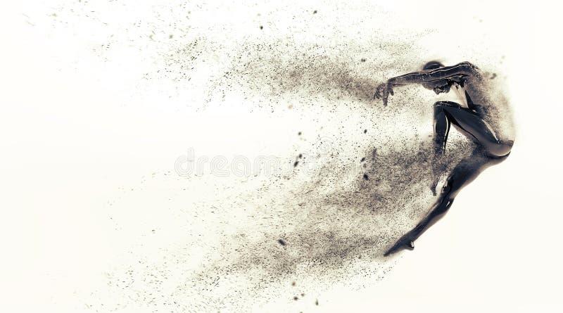 与驱散微粒的抽象黑塑料人体时装模特在白色背景 行动舞蹈跃迁芭蕾姿势 库存例证