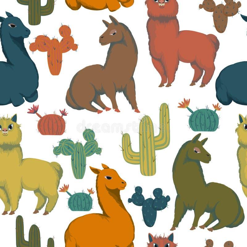 与骆马动物和仙人掌的无缝的样式 五颜六色的装饰背景 r 库存例证