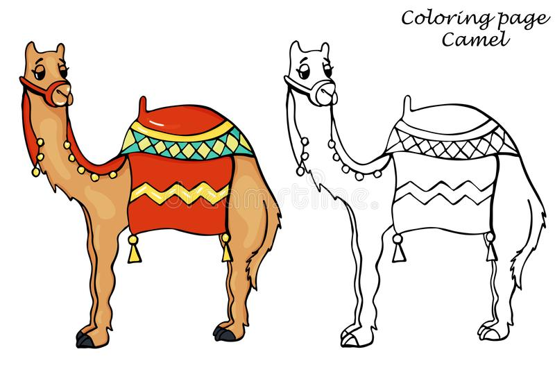 与骆驼概述的着色页在动画片样式 向量例证