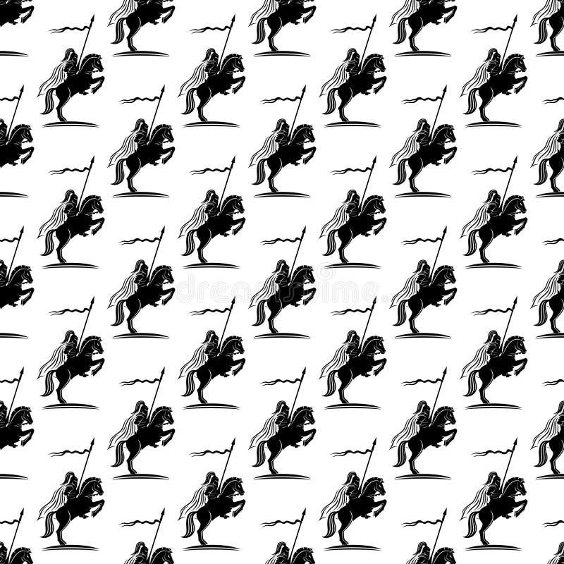 与骑士的背景马的 向量例证