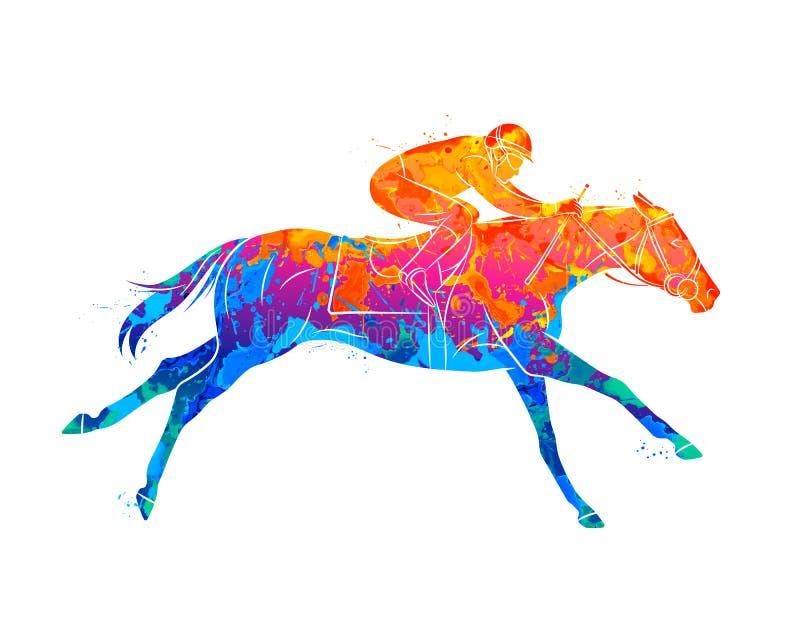 与骑师的抽象赛马从水彩飞溅  跳马球车手的驯马骑马马马现出轮廓体育运动向量 向量例证