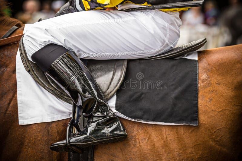 与骑师,特写镜头的赛马 免版税库存图片