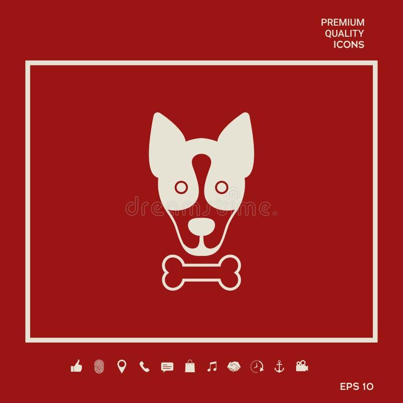 与骨头商标,标志的狗,保护标志,象 宠物的饭食 向量例证