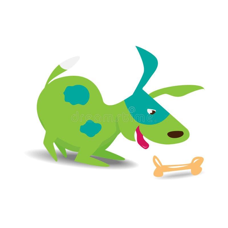 与骨头的绿色快乐的狗 皇族释放例证