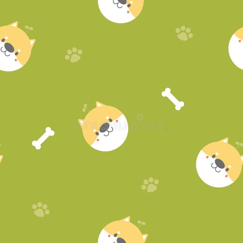 与骨头,脚印刷品的无缝的逗人喜爱的动物宠物shiba inu狗重复样式在绿色背景中 向量例证