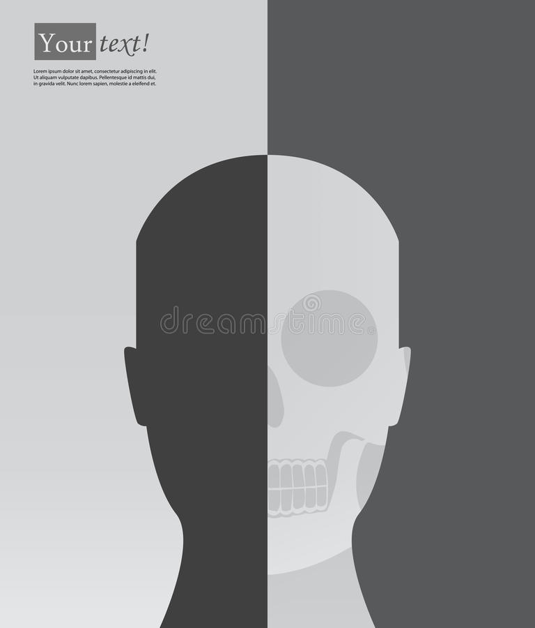 与骨骼的顶头剪影 皇族释放例证