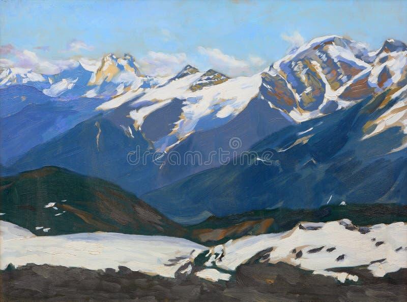 与高加索的多雪的山的风景 向量例证