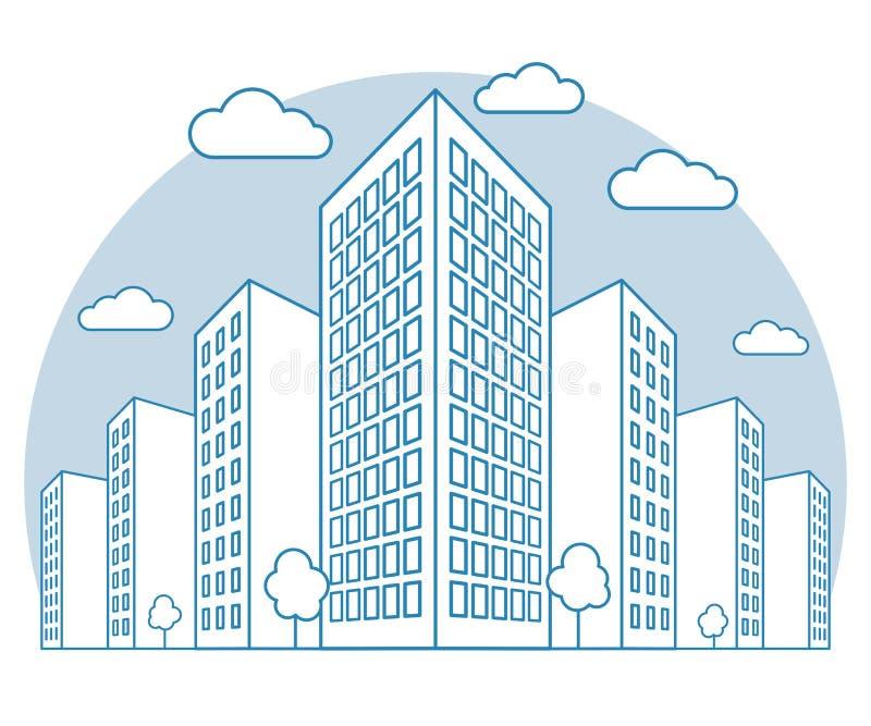 与高大厦、云彩、树、风景与街道块,现代住宅和经济公寓住宅,线性概述的城市视图 库存例证