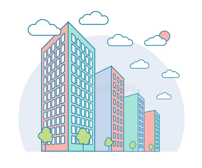 与高大厦、云彩、树,现代住宅和经济公寓住宅,线性概述样式的好的城市风景视图 皇族释放例证