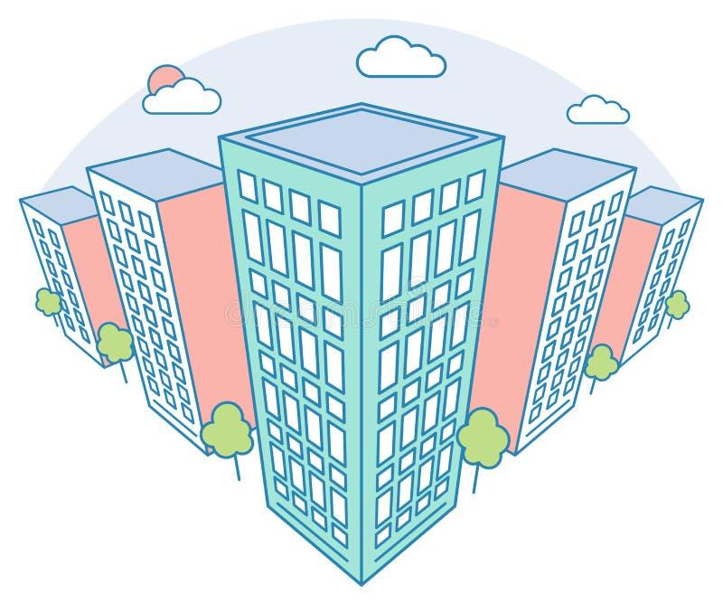与高大厦、云彩、树,现代住宅和经济公寓住宅,线性概述样式的好的城市风景视图 库存例证