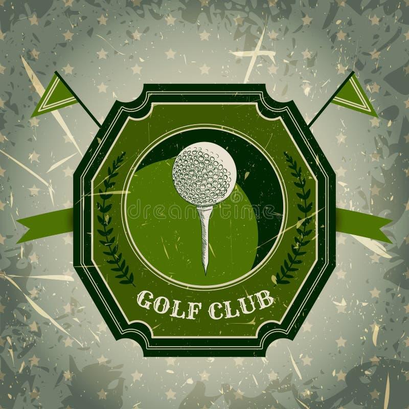 与高尔夫球的葡萄酒海报 减速火箭的手拉的传染媒介例证标签高尔夫俱乐部 库存例证
