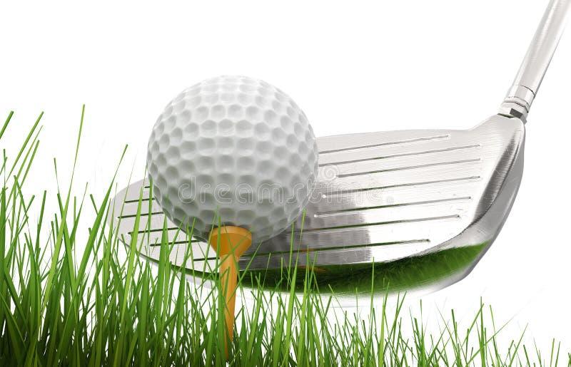 与高尔夫球的高尔夫俱乐部在发球区域 库存照片