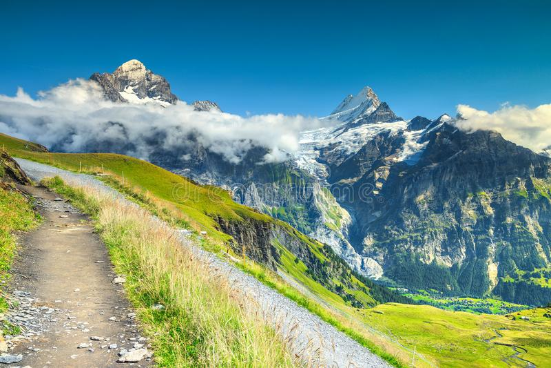 与高山的山行迹在背景,格林德瓦,瑞士,欧洲中 库存图片
