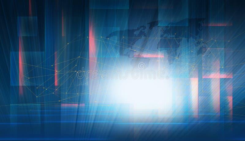 与高技术屏幕概念的全球性数字式连通性 库存例证