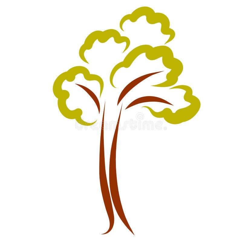 与高树干和绿色叶子,样式的树 向量例证