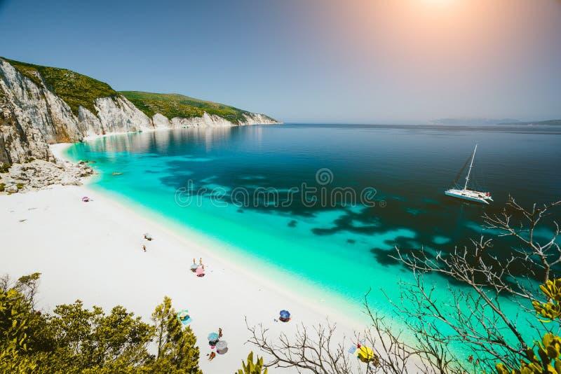 与高白色岩石峭壁围拢的清楚的天蓝色的鲜绿色海水的天堂海滩 Fteri海滩在Kefalonia海岛 图库摄影