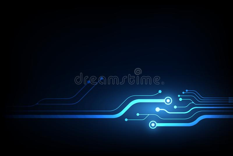 与高科技蓝色电路板的抽象传染媒介背景 向量例证