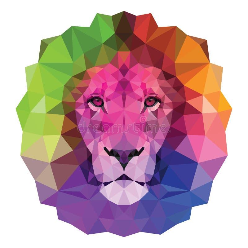 与高详细的眼睛的五颜六色的枪口狮子传染媒介例证,包括三角 低多设计 向量例证