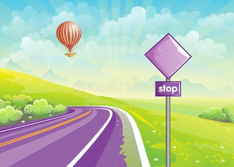 与高速公路、草甸和一个气球的夏天例证在s 向量例证