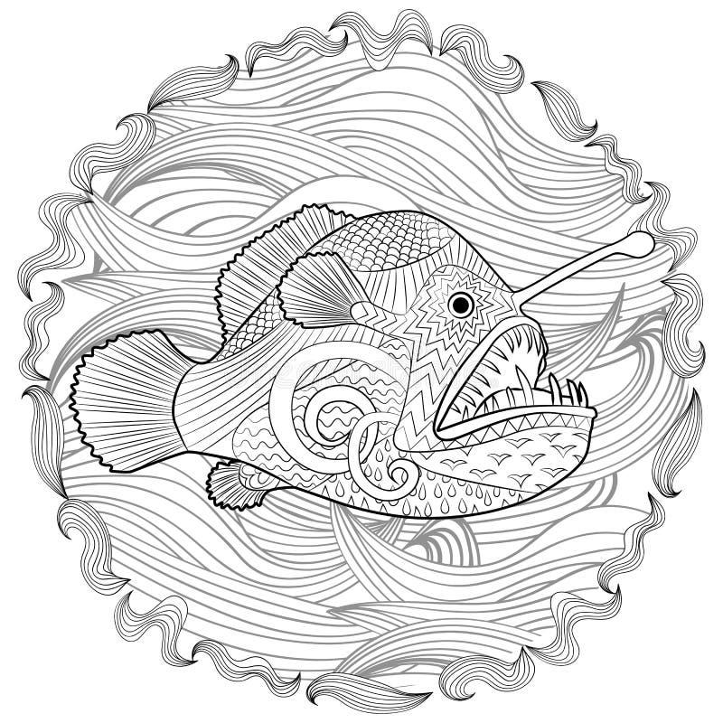 与高细节的手拉的天使鱼 向量例证