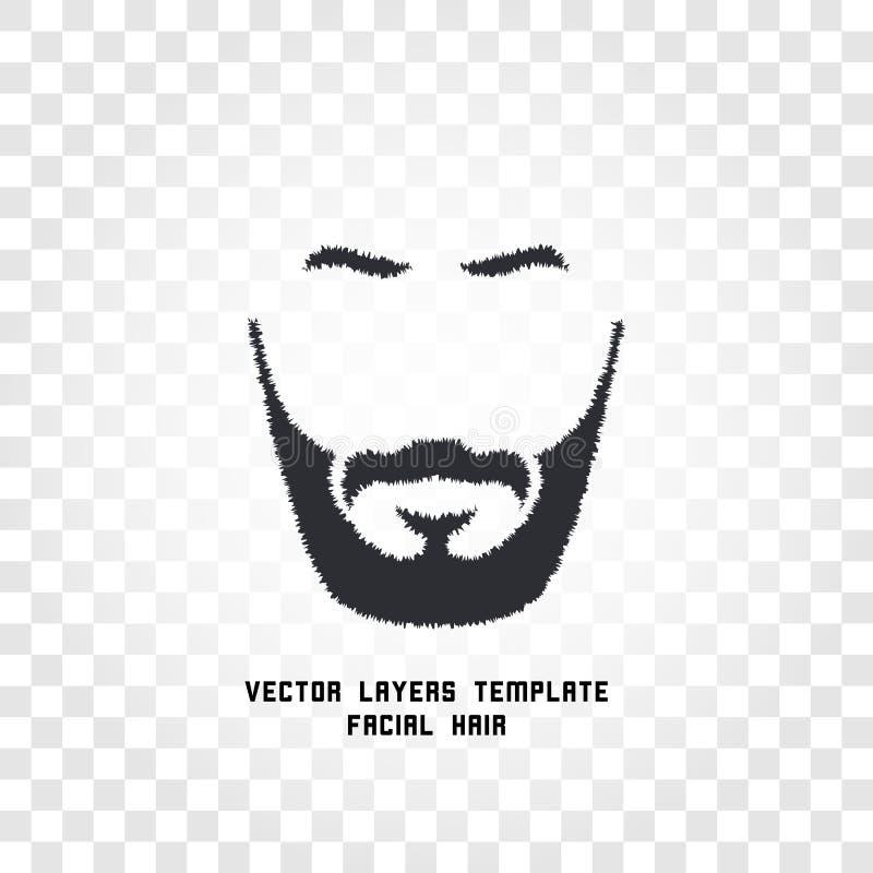 与髭和胡子传染媒介商标的被隔绝的面孔 人理发店象征 向量例证