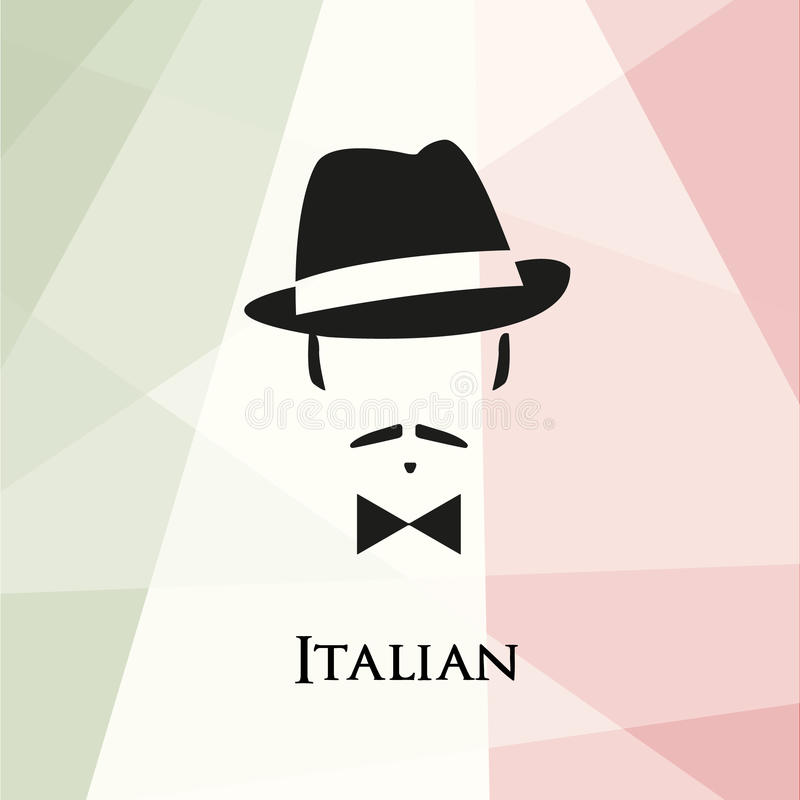 与髭和蝶形领结的意大利语 皇族释放例证