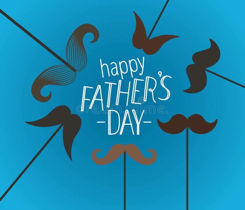 与髭的愉快的父亲节贺卡 向量例证