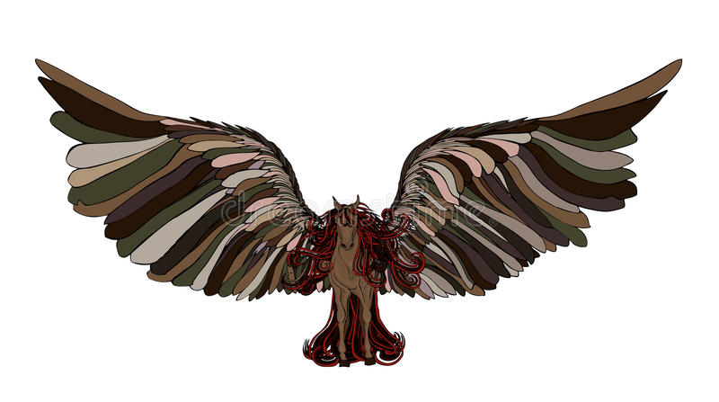 与鬃毛和翼的美丽的马 佩格瑟斯 特写镜头 查出 向量例证