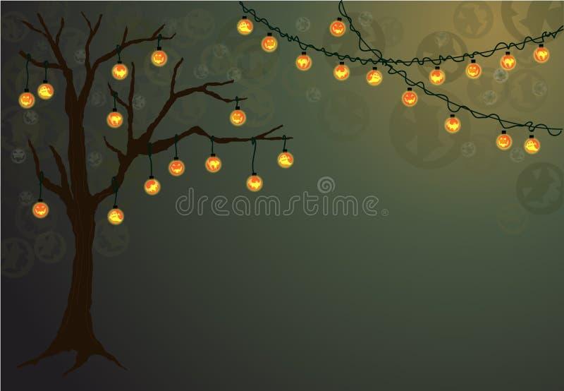 与鬼的光的万圣夜树 皇族释放例证