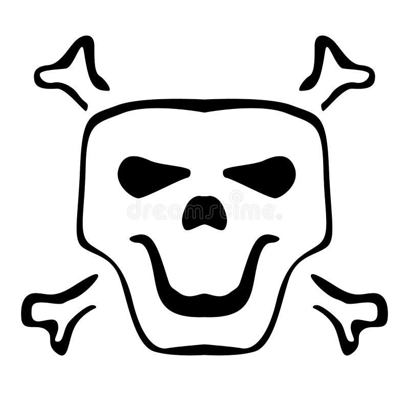 与鬼的微笑的黑暗的人的头骨剪影 黑象平在白色背景 传染媒介简单的动画片骷髅图象 H 库存例证