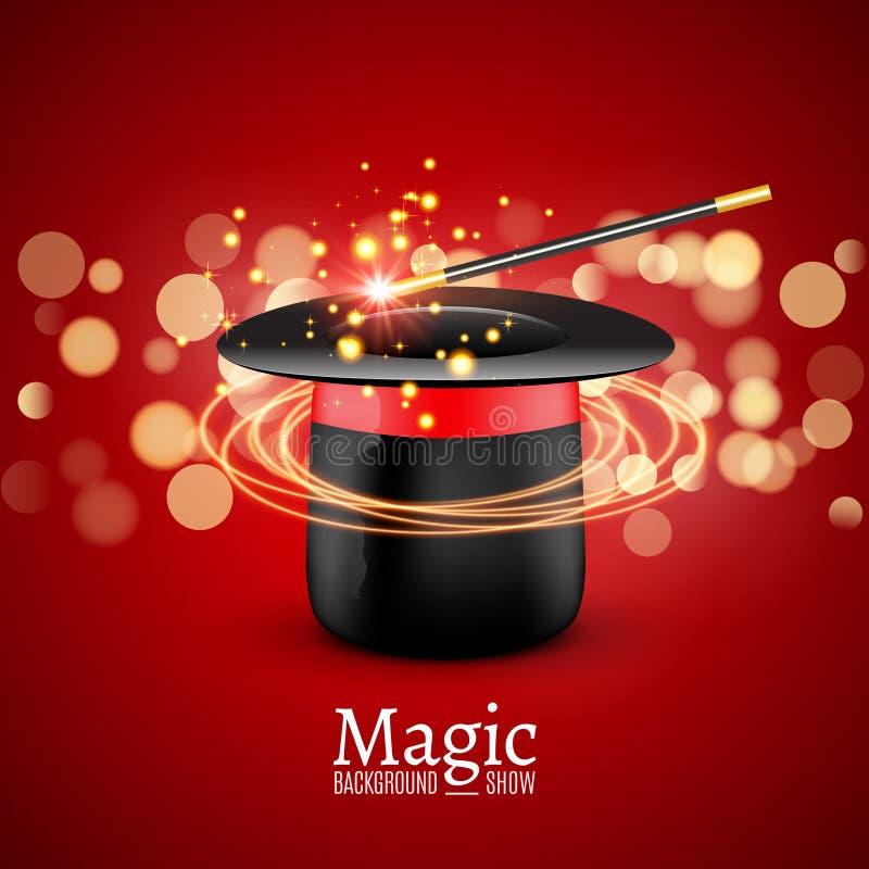与魔术鞭子的魔术帽子 传染媒介魔术师perfomance Wizzard展示背景 皇族释放例证