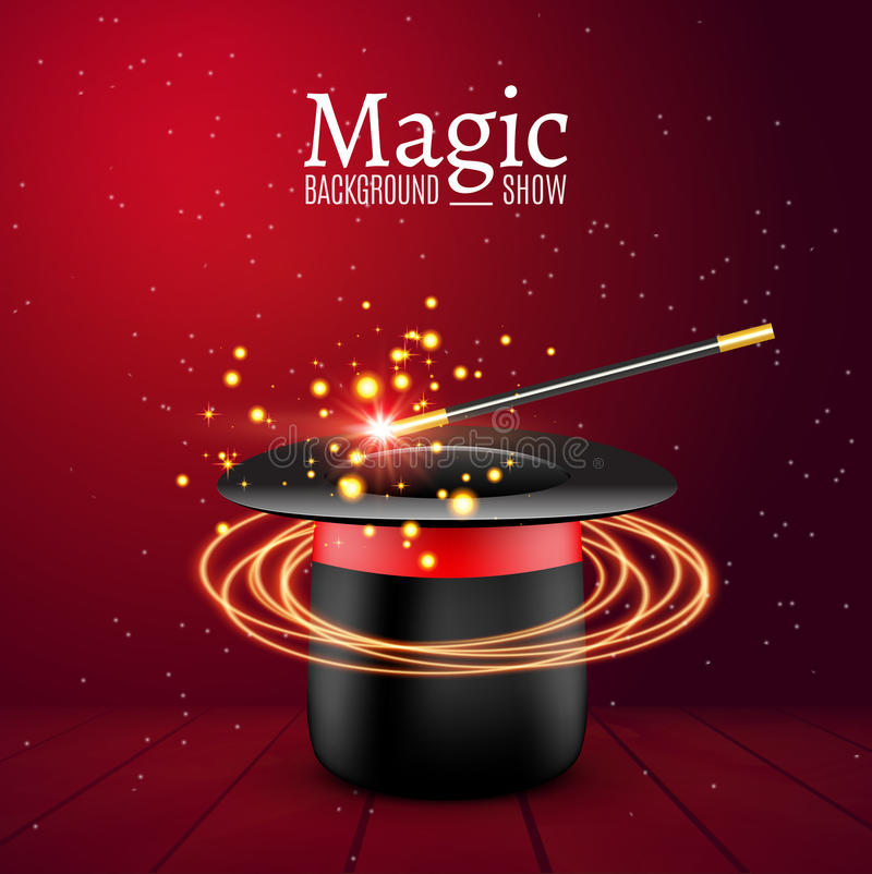 与魔术鞭子的魔术帽子 传染媒介魔术师perfomance Wizzard展示背景 向量例证